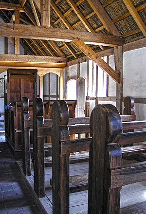 Interior of the most sumtuous building at Jamestown, the church